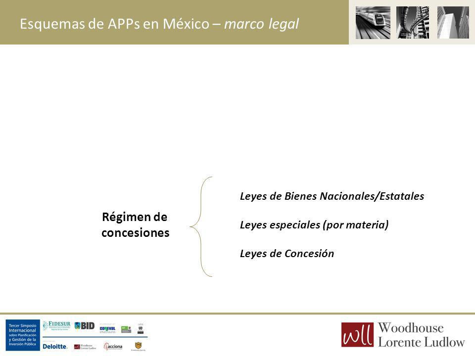 Esquemas de APPs en México – marco legal Régimen de concesiones Leyes de Bienes Nacionales/Estatales Leyes especiales (por materia) Leyes de Concesión