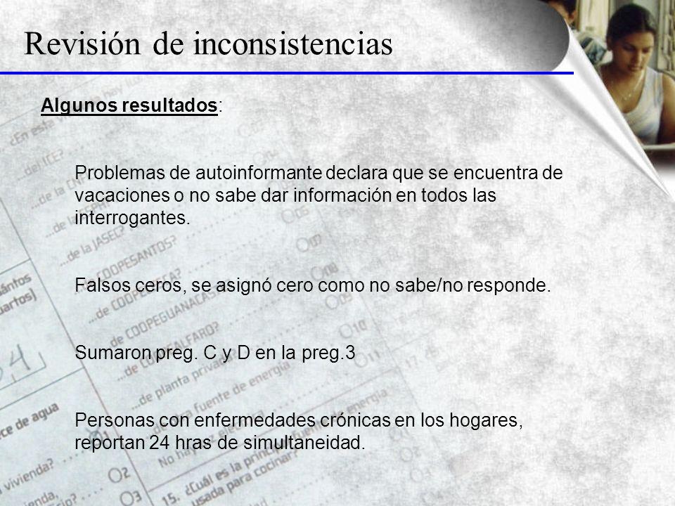 Revisión de inconsistencias Algunos resultados: Problemas de autoinformante declara que se encuentra de vacaciones o no sabe dar información en todos las interrogantes.