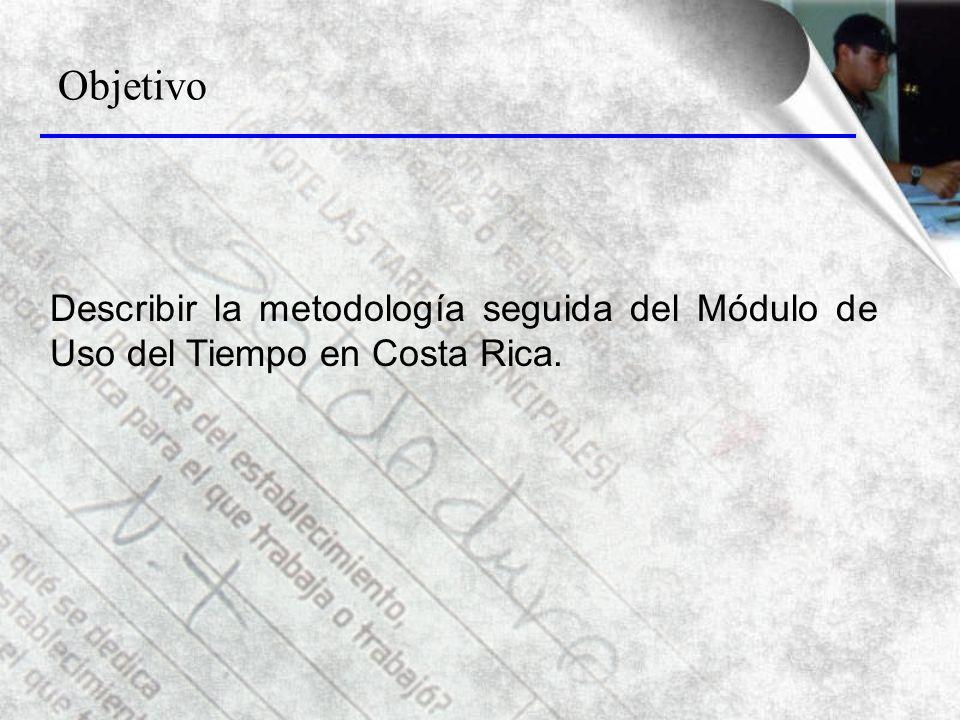 Objetivo Describir la metodología seguida del Módulo de Uso del Tiempo en Costa Rica.