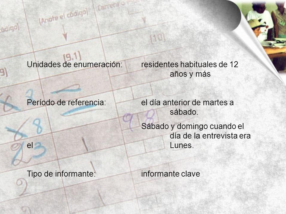 Unidades de enumeración:residentes habituales de 12 años y más Período de referencia:el día anterior de martes a sábado.