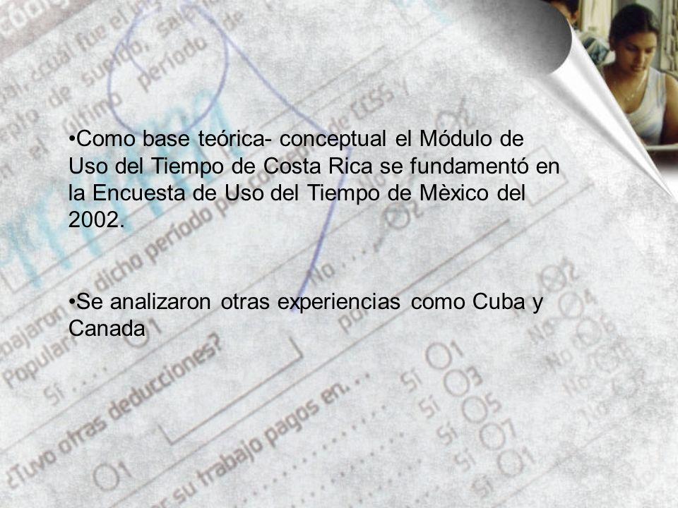 Como base teórica- conceptual el Módulo de Uso del Tiempo de Costa Rica se fundamentó en la Encuesta de Uso del Tiempo de Mèxico del 2002.