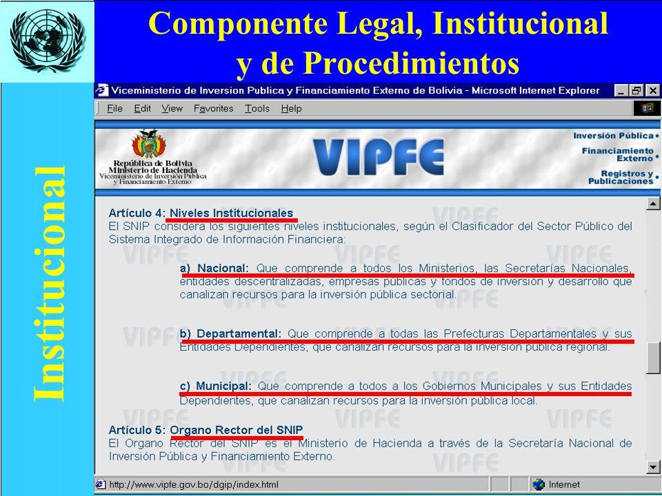 Componente Legal, Institucional y de Procedimientos Institucional