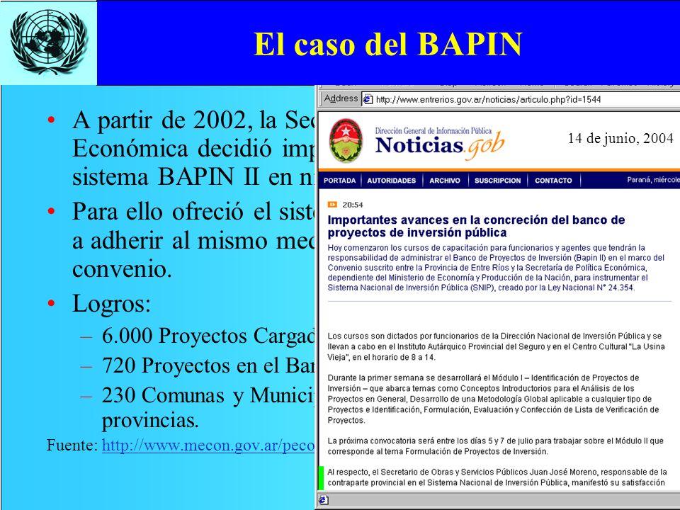 El caso del BAPIN A partir de 2002, la Secretaría de Política Económica decidió impulsar la implementación del sistema BAPIN II en niveles subnacional
