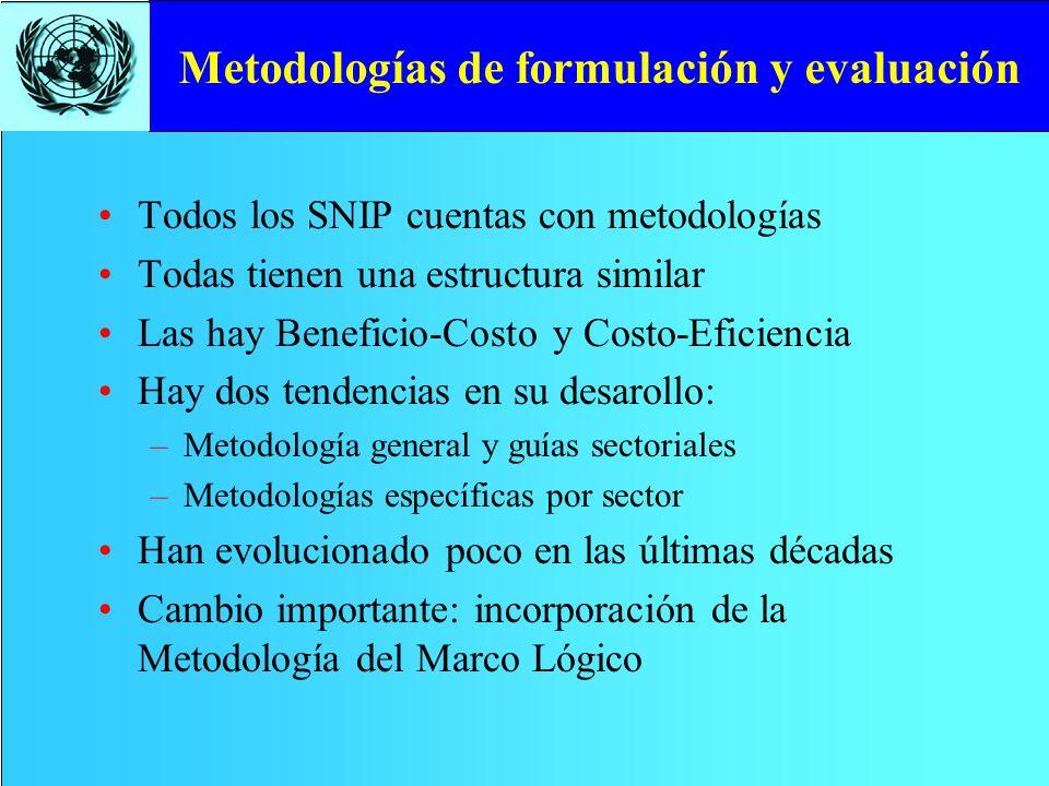 Metodologías de formulación y evaluación Todos los SNIP cuentas con metodologías Todas tienen una estructura similar Las hay Beneficio-Costo y Costo-E