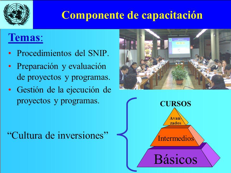 Componente de capacitación Procedimientos del SNIP. Preparación y evaluación de proyectos y programas. Gestión de la ejecución de proyectos y programa