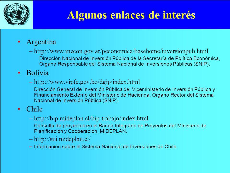Algunos enlaces de interés Argentina –http://www.mecon.gov.ar/peconomica/basehome/inversionpub.html Dirección Nacional de Inversión Pública de la Secr