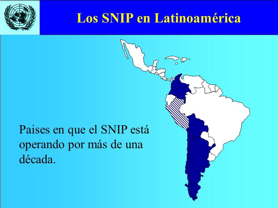 Paises en que el SNIP está operando por más de una década.