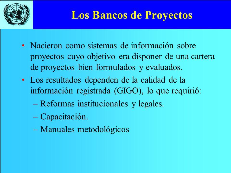 Los Bancos de Proyectos Nacieron como sistemas de información sobre proyectos cuyo objetivo era disponer de una cartera de proyectos bien formulados y