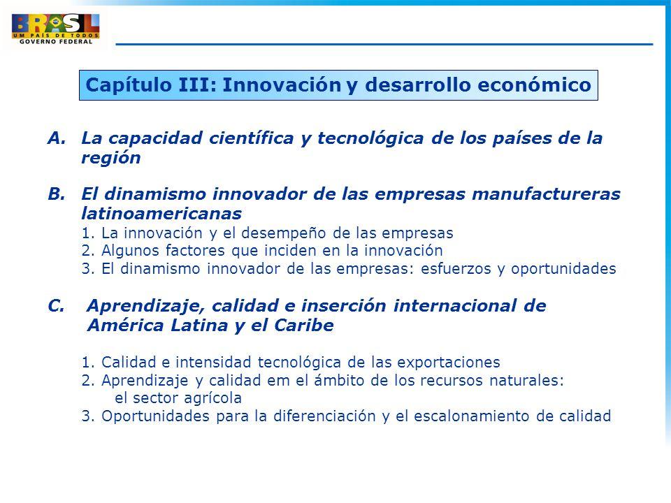 Capítulo III: Innovación y desarrollo económico A.La capacidad científica y tecnológica de los países de la región B.El dinamismo innovador de las empresas manufactureras latinoamericanas 1.