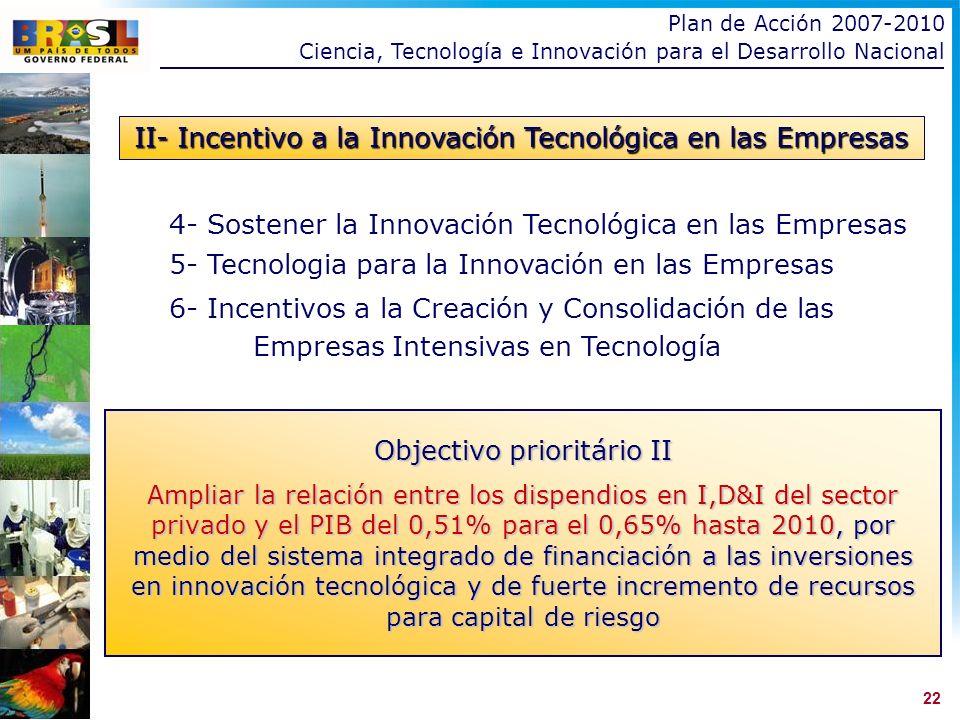 22 4- Sostener la Innovación Tecnológica en las Empresas 5- Tecnologia para la Innovación en las Empresas 6- Incentivos a la Creación y Consolidación de las Empresas Intensivas en Tecnología II- Incentivo a la Innovación Tecnológica en las Empresas Objectivo prioritário II Ampliar la relación entre los dispendios en I,D&I del sector privado y el PIB del 0,51% para el 0,65% hasta 2010, por medio del sistema integrado de financiación a las inversiones en innovación tecnológica y de fuerte incremento de recursos para capital de riesgo Plan de Acción 2007-2010 Ciencia, Tecnología e Innovación para el Desarrollo Nacional