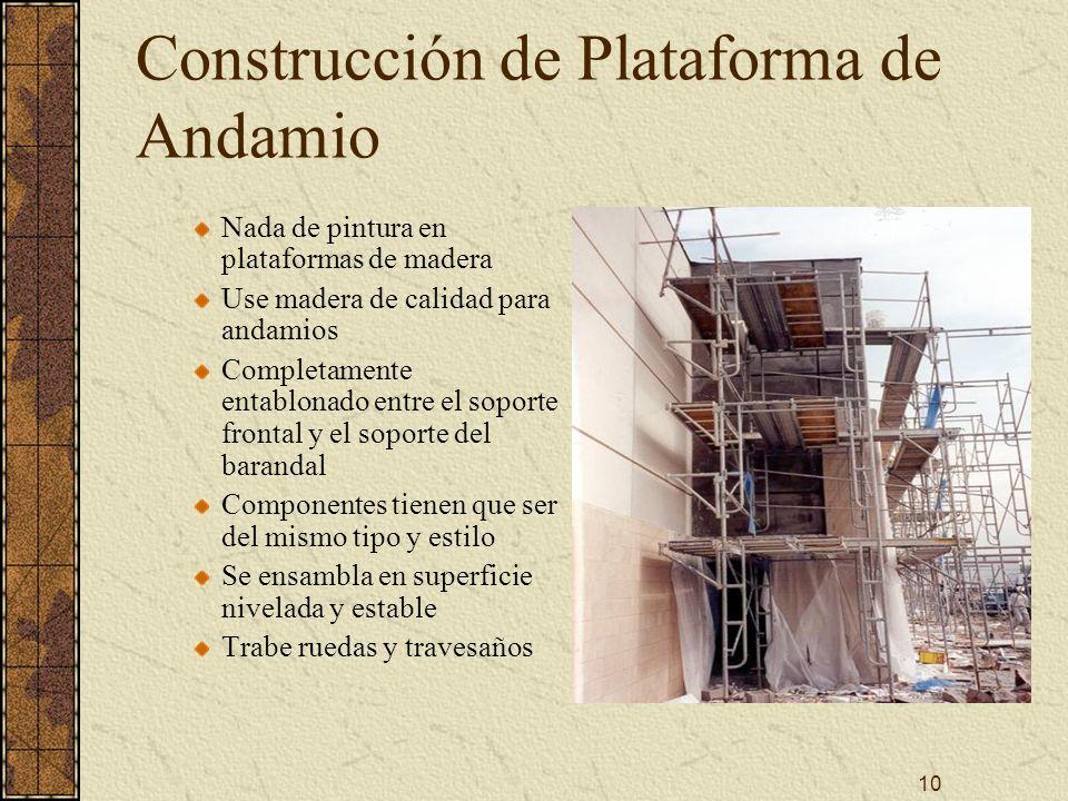 10 Construcción de Plataforma de Andamio Nada de pintura en plataformas de madera Use madera de calidad para andamios Completamente entablonado entre