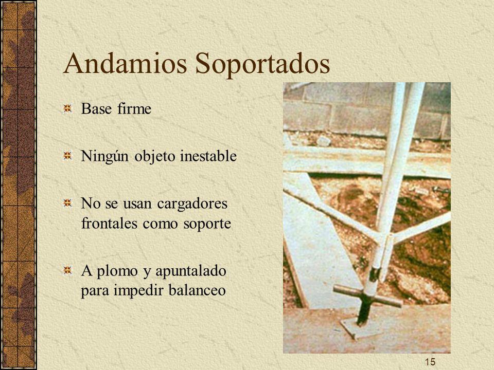15 Andamios Soportados Base firme Ningún objeto inestable No se usan cargadores frontales como soporte A plomo y apuntalado para impedir balanceo