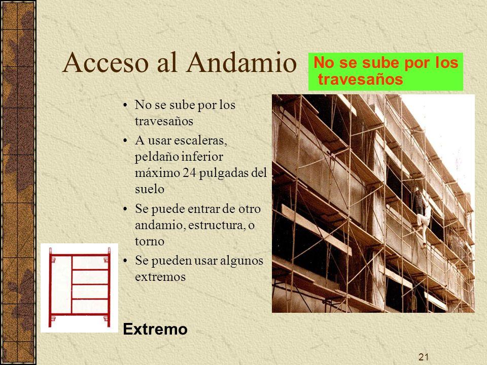 21 Acceso al Andamio No se sube por los travesaños A usar escaleras, peldaño inferior máximo 24 pulgadas del suelo Se puede entrar de otro andamio, es