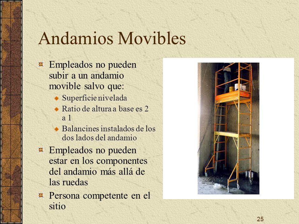 25 Andamios Movibles Empleados no pueden subir a un andamio movible salvo que: Superficie nivelada Ratio de altura a base es 2 a 1 Balancines instalad