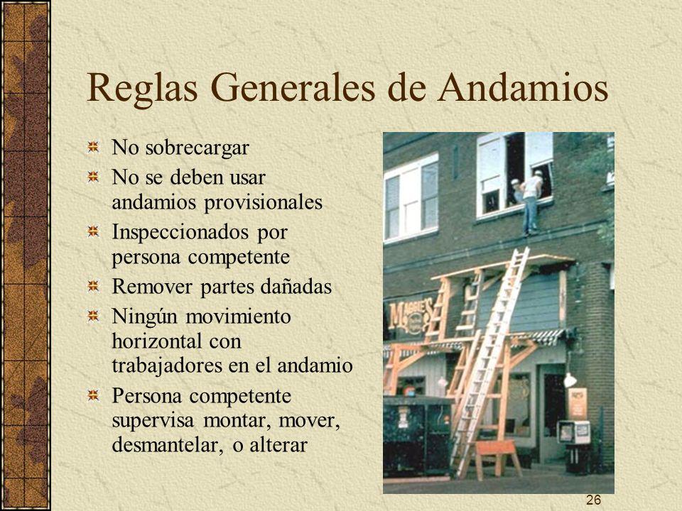 26 Reglas Generales de Andamios No sobrecargar No se deben usar andamios provisionales Inspeccionados por persona competente Remover partes dañadas Ni