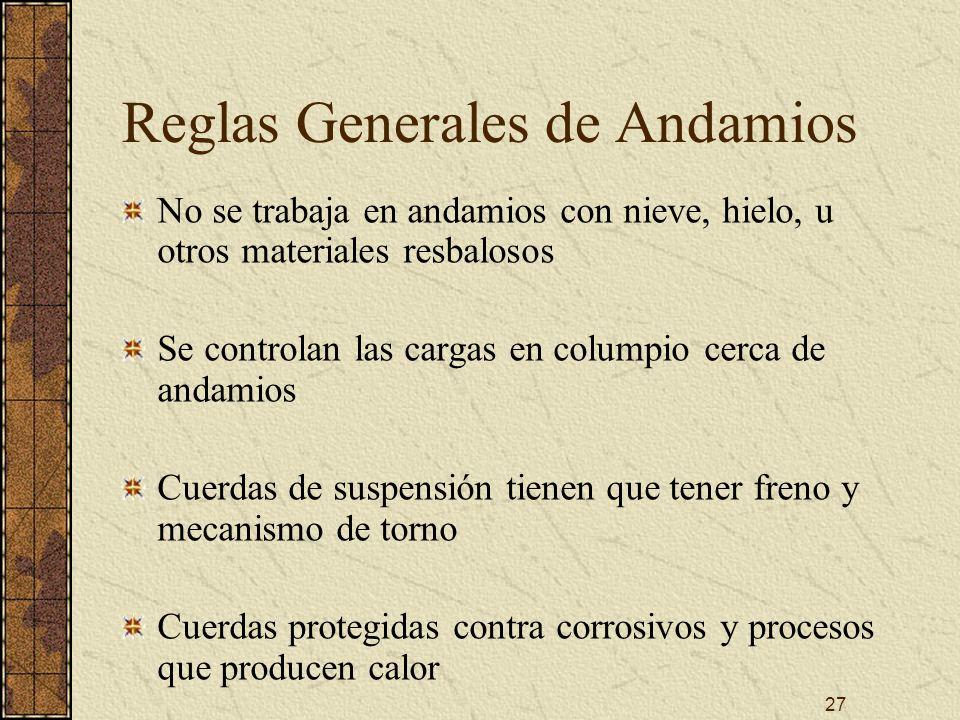 27 Reglas Generales de Andamios No se trabaja en andamios con nieve, hielo, u otros materiales resbalosos Se controlan las cargas en columpio cerca de