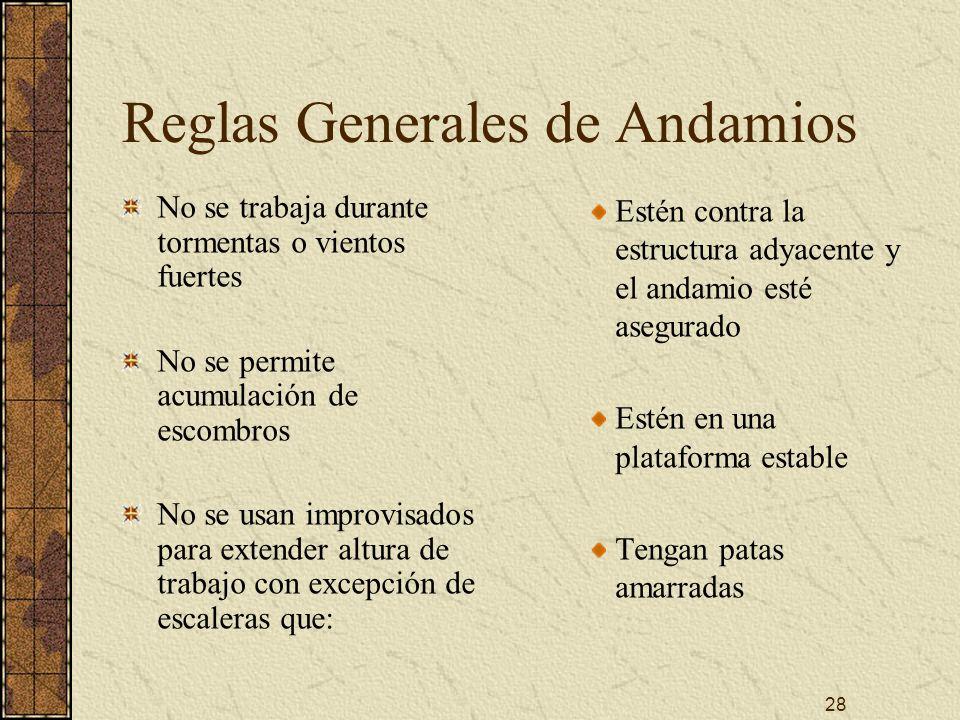 28 Reglas Generales de Andamios No se trabaja durante tormentas o vientos fuertes No se permite acumulación de escombros No se usan improvisados para