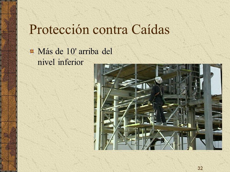32 Protección contra Caídas Más de 10' arriba del nivel inferior