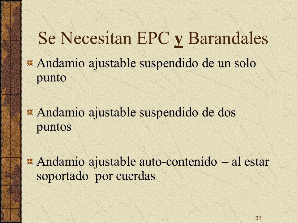 34 Se Necesitan EPC y Barandales Andamio ajustable suspendido de un solo punto Andamio ajustable suspendido de dos puntos Andamio ajustable auto-conte