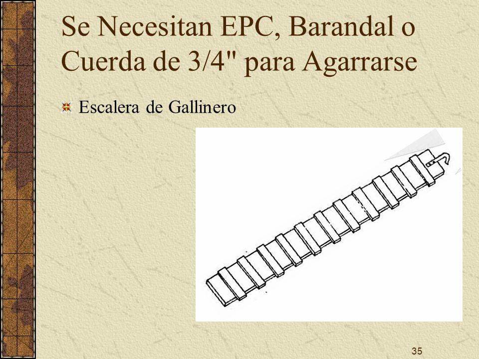 35 Se Necesitan EPC, Barandal o Cuerda de 3/4