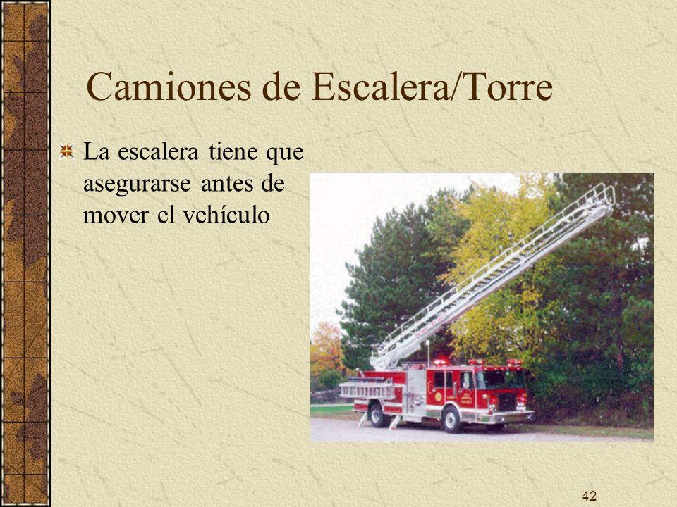 42 Camiones de Escalera/Torre La escalera tiene que asegurarse antes de mover el vehículo