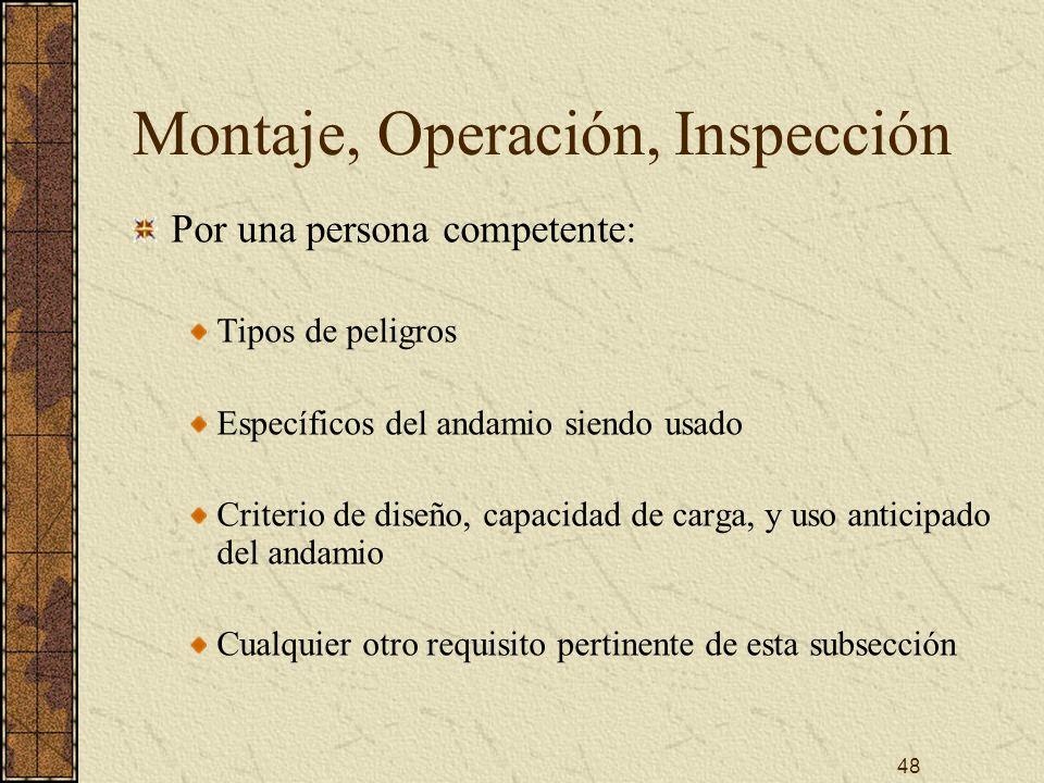 48 Montaje, Operación, Inspección Por una persona competente: Tipos de peligros Específicos del andamio siendo usado Criterio de diseño, capacidad de
