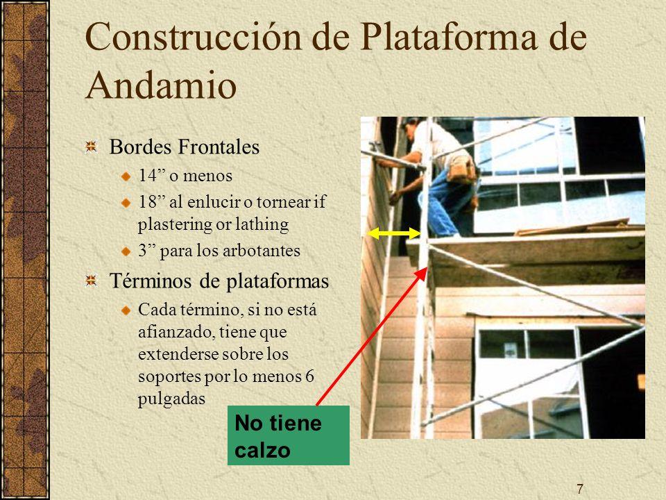 7 Construcción de Plataforma de Andamio Bordes Frontales 14 o menos 18 al enlucir o tornear if plastering or lathing 3 para los arbotantes Términos de