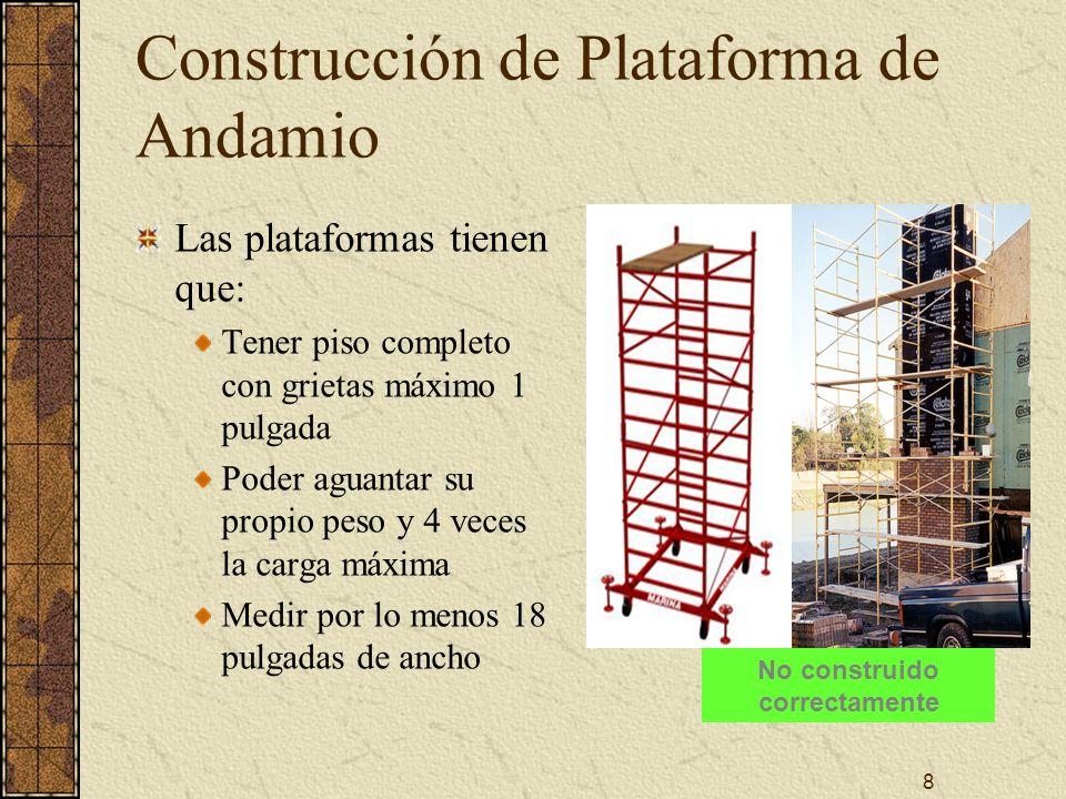 8 Construcción de Plataforma de Andamio Las plataformas tienen que: Tener piso completo con grietas máximo 1 pulgada Poder aguantar su propio peso y 4