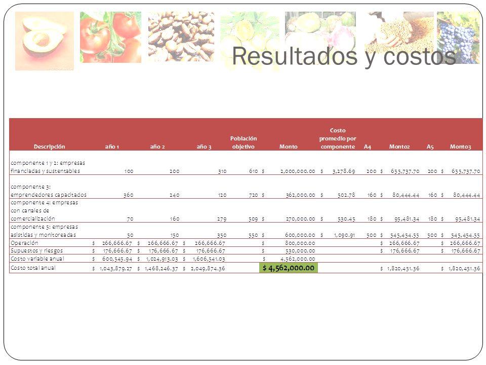 Resultados y costos