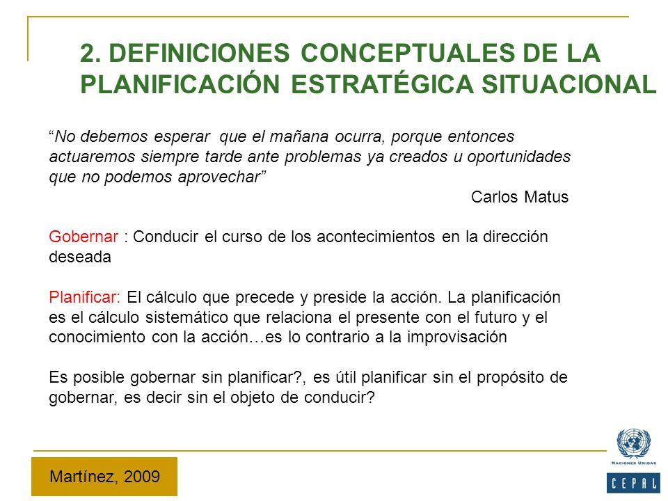 2. DEFINICIONES CONCEPTUALES DE LA PLANIFICACIÓN ESTRATÉGICA SITUACIONAL No debemos esperar que el mañana ocurra, porque entonces actuaremos siempre t