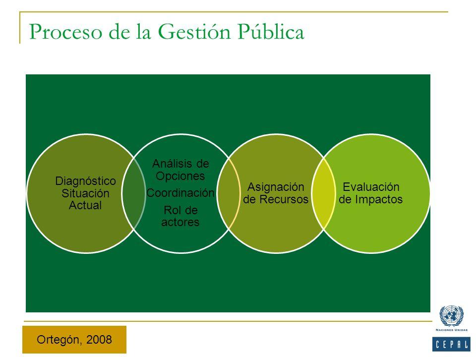 Proceso de la Gestión Pública Diagnóstico Situación Actual Análisis de Opciones Coordinación Rol de actores Asignación de Recursos Evaluación de Impac