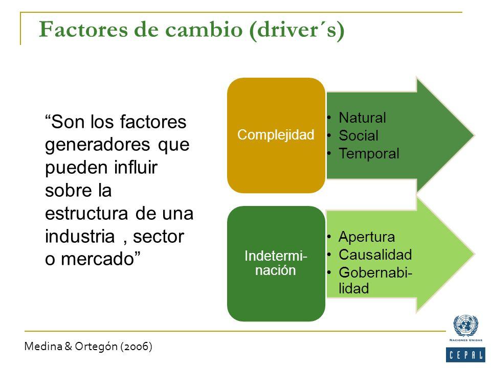 Factores de cambio (driver´s) Son los factores generadores que pueden influir sobre la estructura de una industria, sector o mercado Natural Social Te