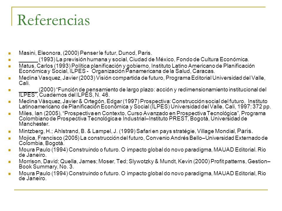Referencias Masini, Eleonora, (2000) Penser le futur, Dunod, Paris. ______ (1993) La previsión humana y social, Ciudad de México, Fondo de Cultura Eco