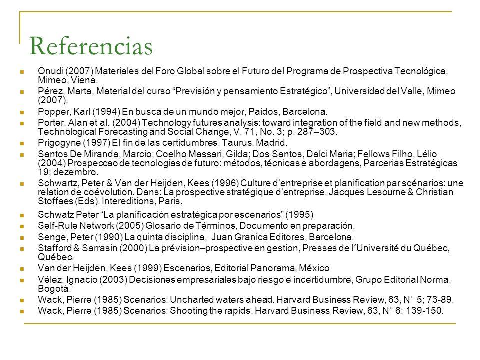 Referencias Onudi (2007) Materiales del Foro Global sobre el Futuro del Programa de Prospectiva Tecnológica, Mimeo, Viena. Pérez, Marta, Material del