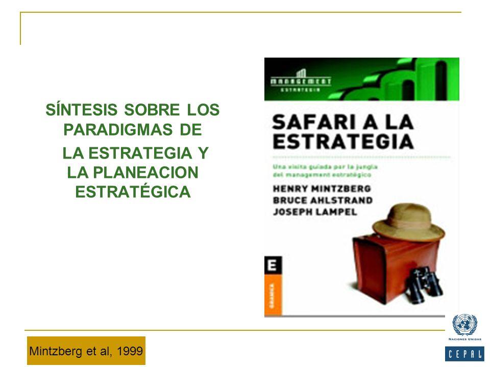 SÍNTESIS SOBRE LOS PARADIGMAS DE LA ESTRATEGIA Y LA PLANEACION ESTRATÉGICA Mintzberg et al, 1999