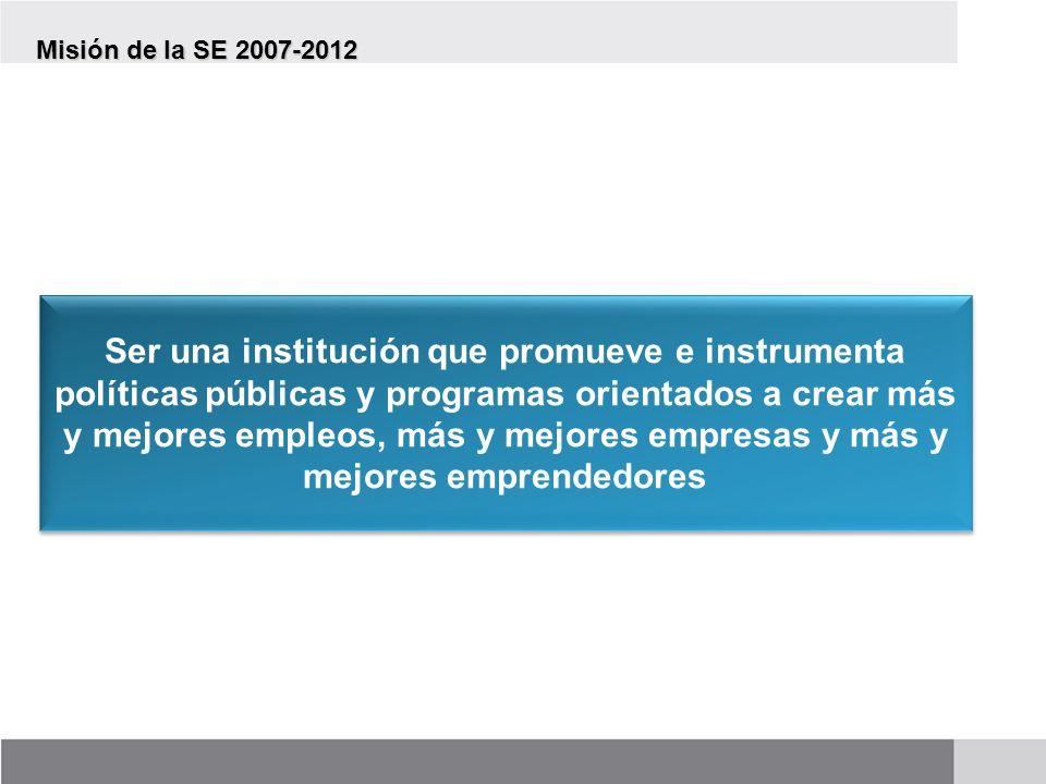 Visión de la SE 2007-2012 La Secretaría de Economía será la dependencia del gobierno federal que promueva la generación de empleos de calidad y el crecimiento económico del país, mediante el impulso e implementación de políticas públicas que detonen la competitividad y las inversiones productivas.