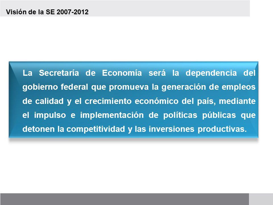 Visión de la SE 2007-2012 La Secretaría de Economía será la dependencia del gobierno federal que promueva la generación de empleos de calidad y el cre