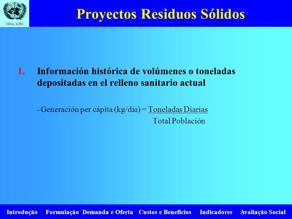 CEPAL/ILPES Introdução Formulação Demanda e Oferta Custos e Beneficios Indicadores Avaliação Social Proyectos Residuos Sólidos 1.Información histórica