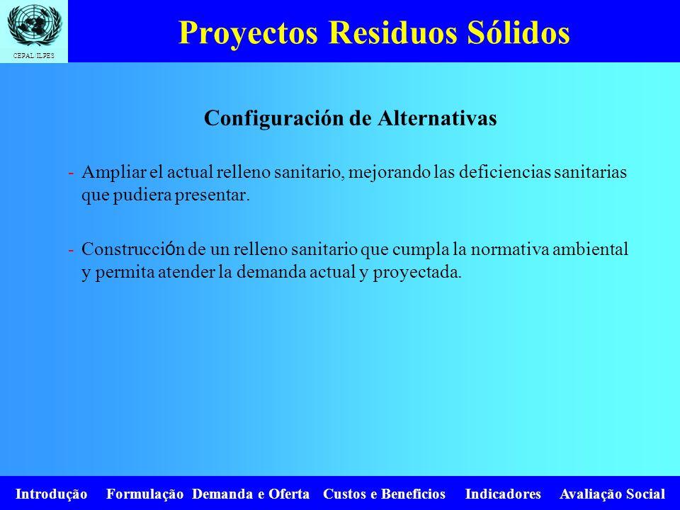CEPAL/ILPES Introdução Formulação Demanda e Oferta Custos e Beneficios Indicadores Avaliação Social Proyectos Residuos Sólidos Configuración de Altern
