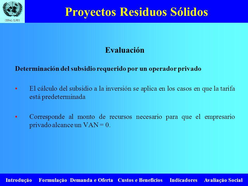 CEPAL/ILPES Introdução Formulação Demanda e Oferta Custos e Beneficios Indicadores Avaliação Social Proyectos Residuos Sólidos Evaluación Determinació
