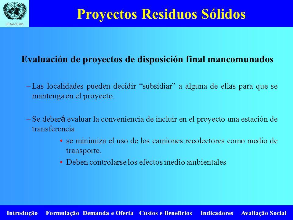 CEPAL/ILPES Introdução Formulação Demanda e Oferta Custos e Beneficios Indicadores Avaliação Social Proyectos Residuos Sólidos Evaluación de proyectos