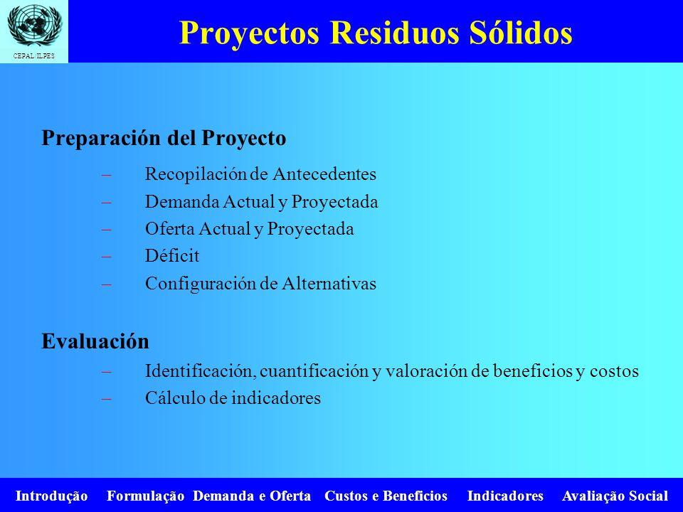 CEPAL/ILPES Introdução Formulação Demanda e Oferta Custos e Beneficios Indicadores Avaliação Social Proyectos Residuos Sólidos Preparación del Proyect