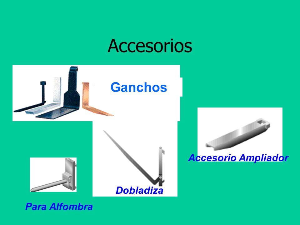 Efectos en comportamiento del montacargas Ganchos Tipos de accesorios Accesorios