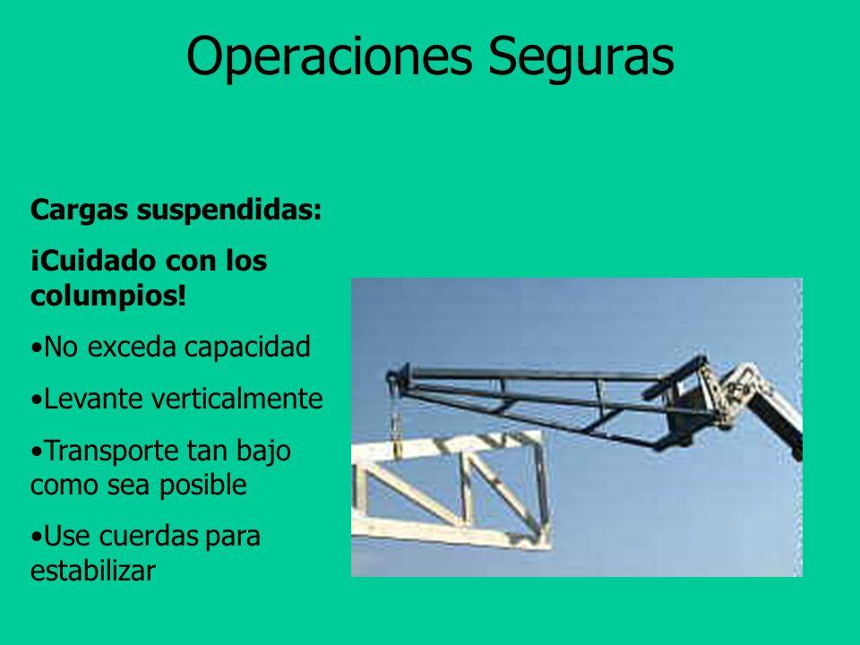 Operaciones Seguras Se prohiben pasajeros. Mantenga una distancia de 3 carros en frente.