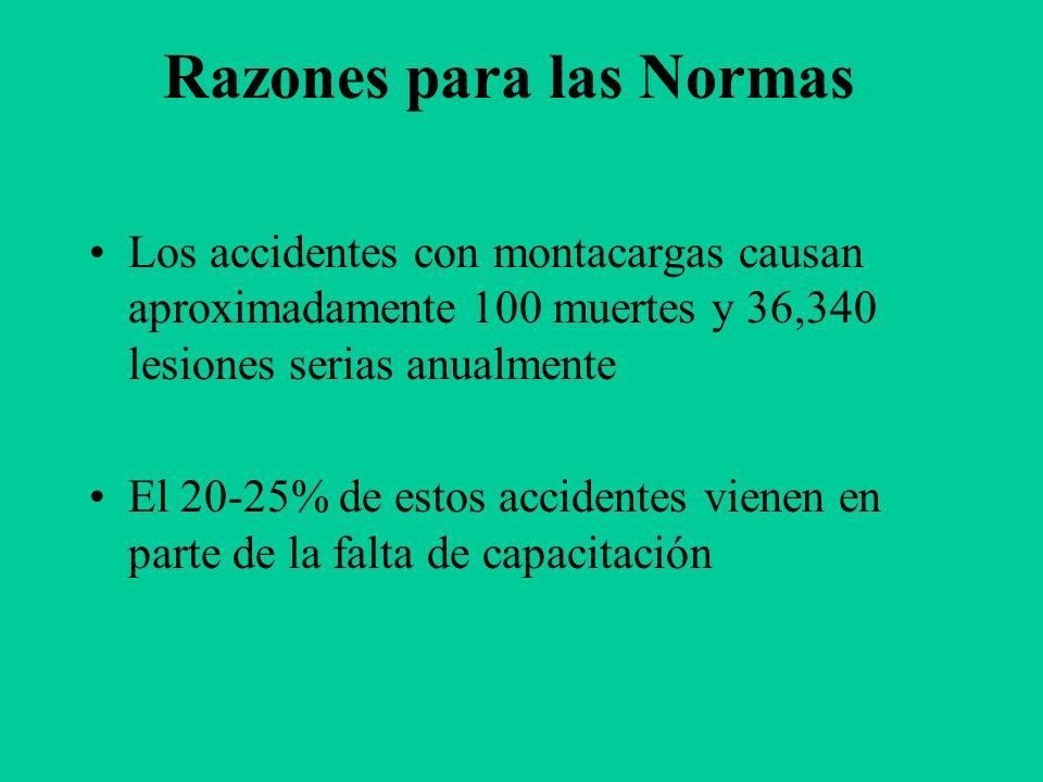 Meta Familiarizarse con los montacargas para así prevenir accidentes y muertos. Repaso de los Requisitos de 29 CFR 1910.178