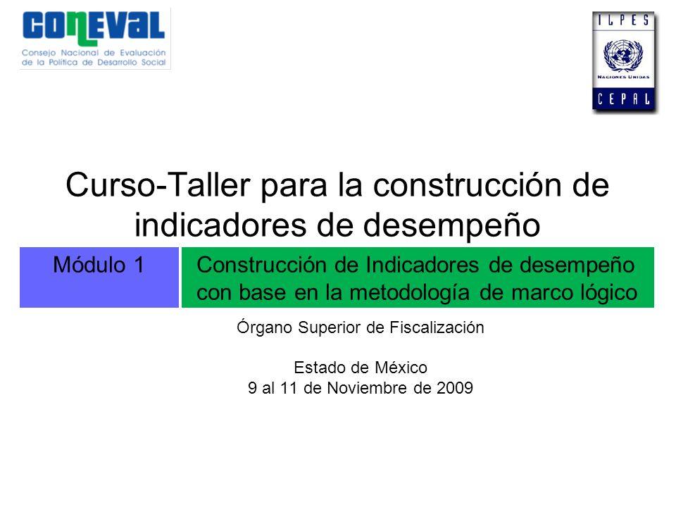 Módulo 1Construcción de Indicadores de desempeño con base en la metodología de marco lógico Curso-Taller para la construcción de indicadores de desemp