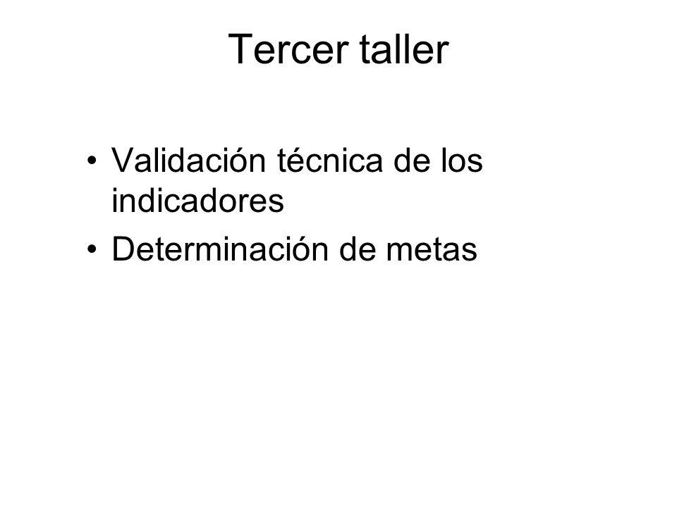 Tercer taller Validación técnica de los indicadores Determinación de metas