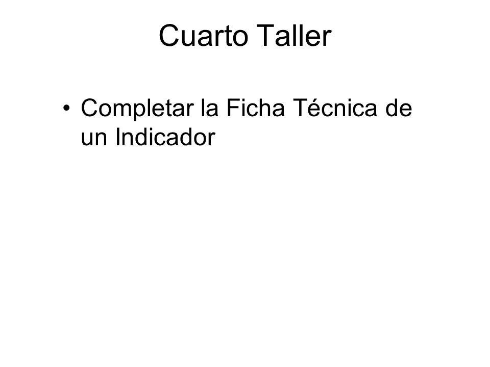 Cuarto Taller Completar la Ficha Técnica de un Indicador