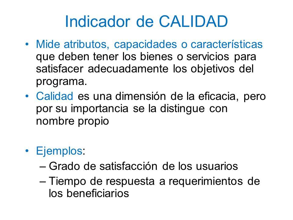 Indicador de CALIDAD Mide atributos, capacidades o características que deben tener los bienes o servicios para satisfacer adecuadamente los objetivos
