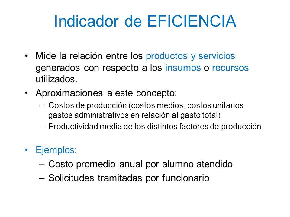 Indicador de EFICIENCIA Mide la relación entre los productos y servicios generados con respecto a los insumos o recursos utilizados. Aproximaciones a